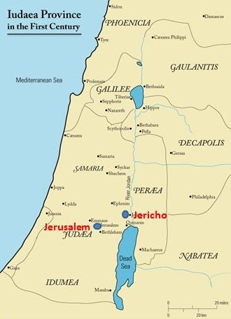 Map of Judea Province During the Time of Jesus