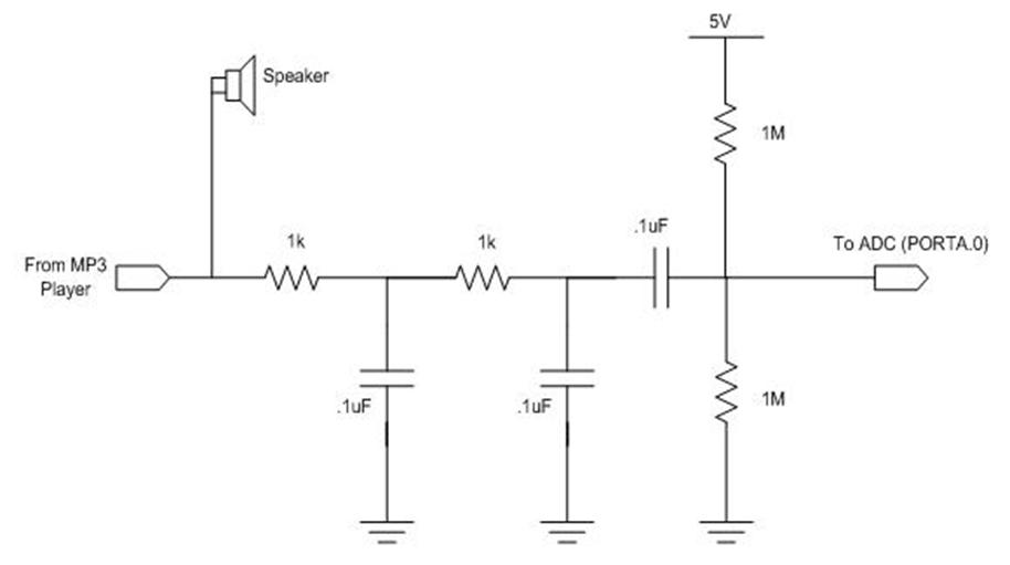 fig 3 low pass rc filter and voltage bias circuit