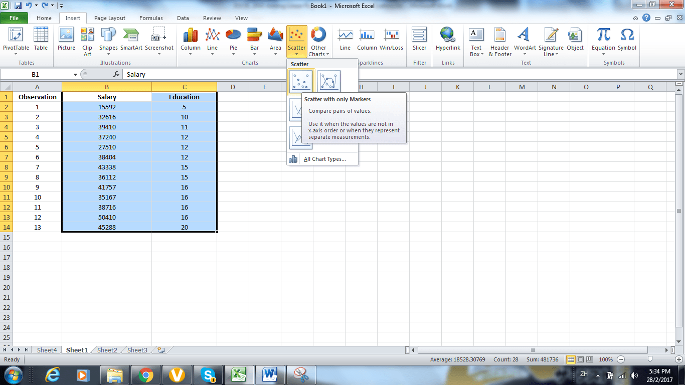 Using Excel Adding Linear Regression Trendline To A
