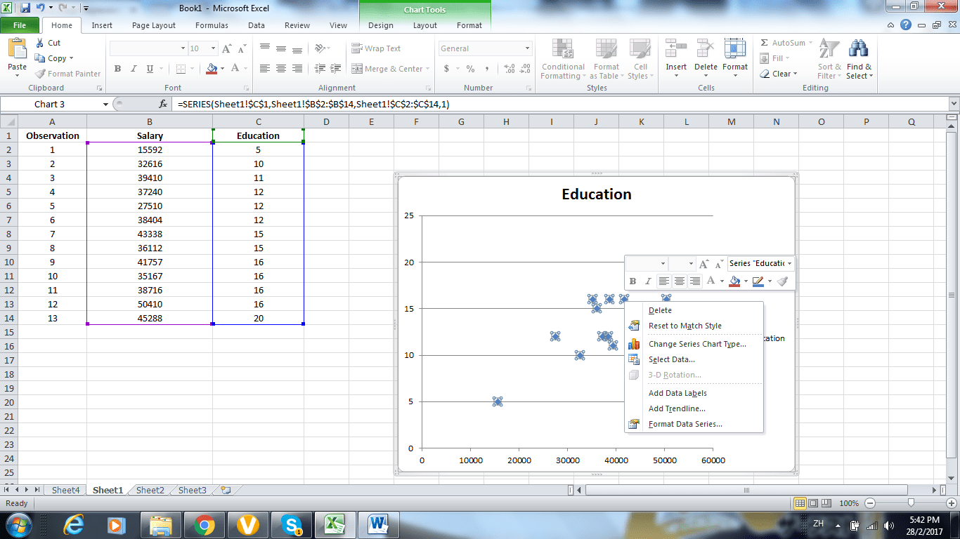 Using Excel Adding Linear Regression Trendline To A Scatterplot