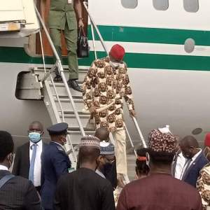 PHOTO NEWS: President Muhammadu Buhari arrives Owerri, Imo State, on Thursday.