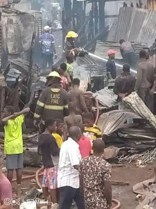 Fire fighters battling inferno at Oko-Baba sawmill