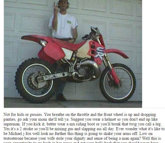 funny Craigslist Honda 2000 CR500 dirtbike