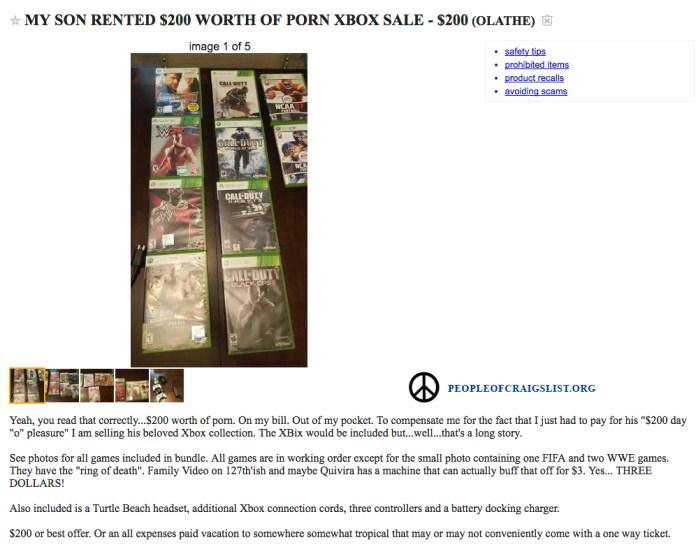 Dad sells sons xbox games on craigslist