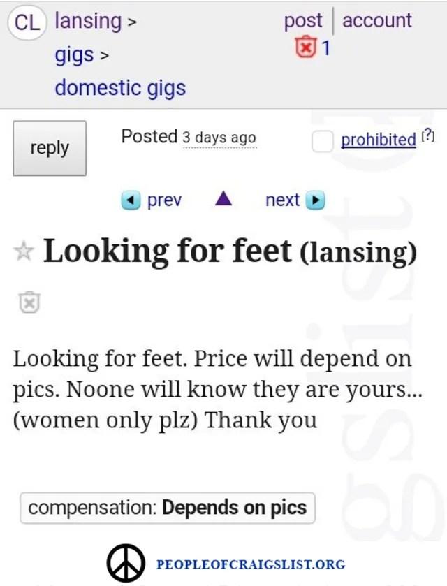 Looking for feet on craigslist