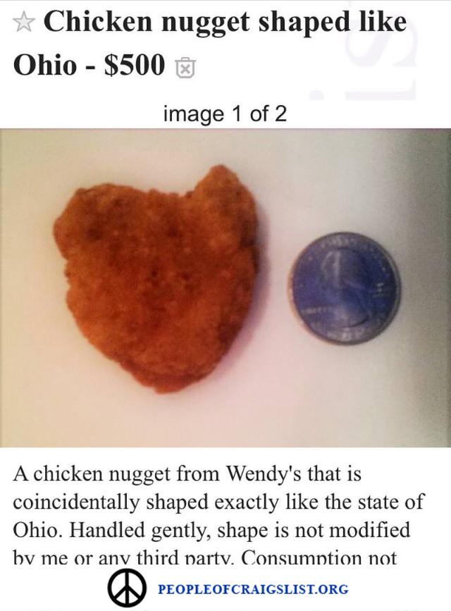 Chicken nugget shaped like ohio on craigslist