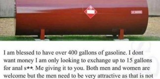 funny Craigslist 400 gallons of gasoline