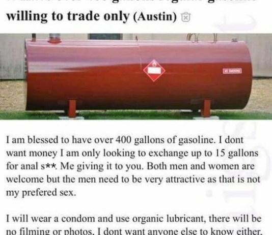 funny Craigslist 400 gallons of gasoline