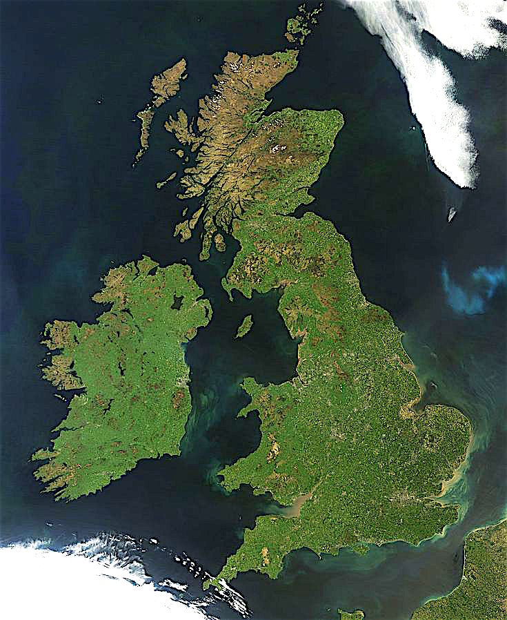 satellite image of Ireland and Great Britain