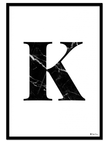 K - Marble Letter poster |Minimalistic typography poster with black marble texture.