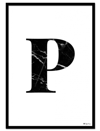 P - Marble Letter poster | Minimalistic typography poster with black marble texture.