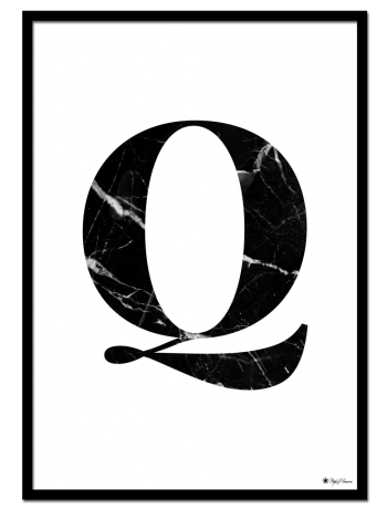 Q - Marble Letter poster | Minimalistic typography poster with black marble texture.
