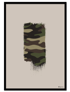 Camo Brush poster   Brush element with camouflage texture on beige background.