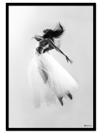 Fly Away poster | Photo poster in black and white of a floating woman