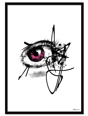 Pink Iris poster | Artistic drawing of an eye with pink iris.