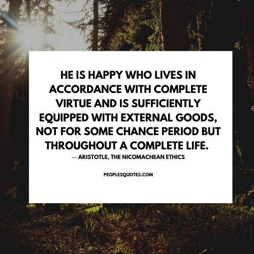 Aristotle quotes on happiness Nicomachean ethics