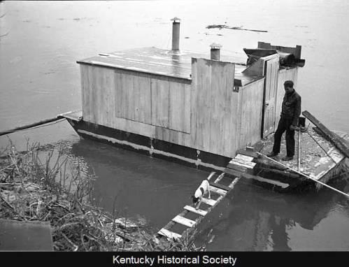 Harlan Hubbard on deck of his shantyboat