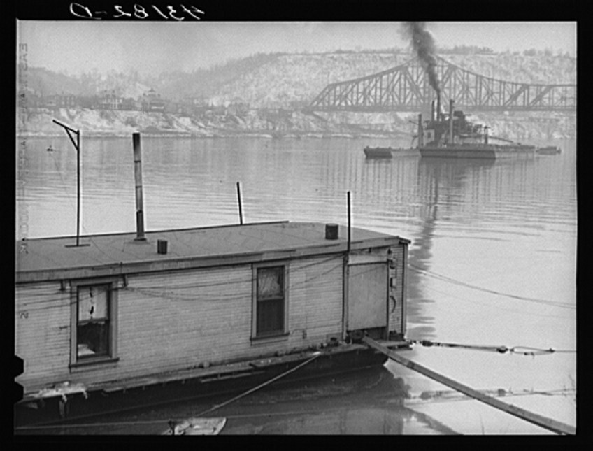 Houseboat along Ohio River at Rochester, Pennsylvania-1940