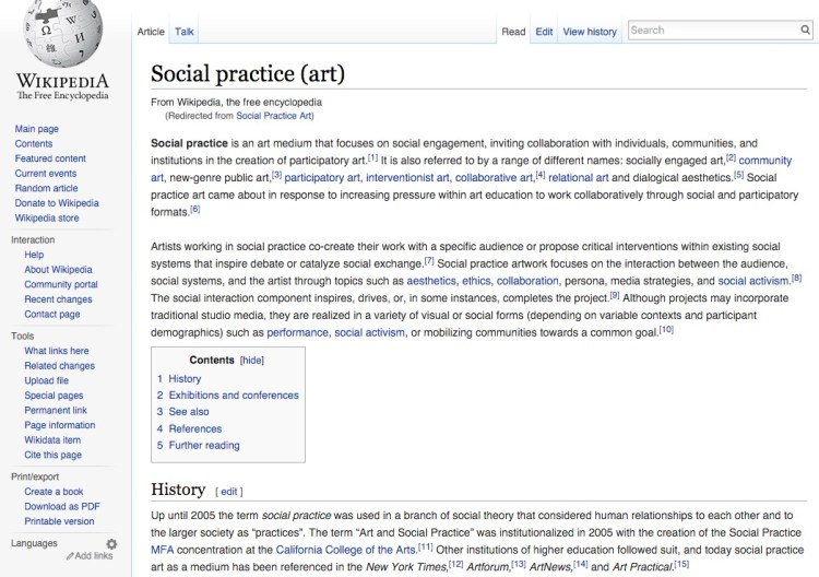 Geek out at wikipedia about social practice art