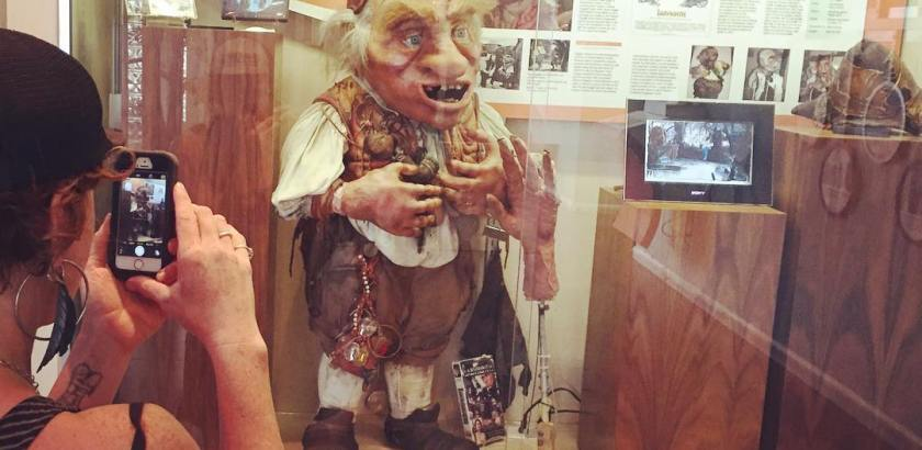 The muppet Hoggle from the movie Labyrinth discovered rotting in unclaimed luggage and restored