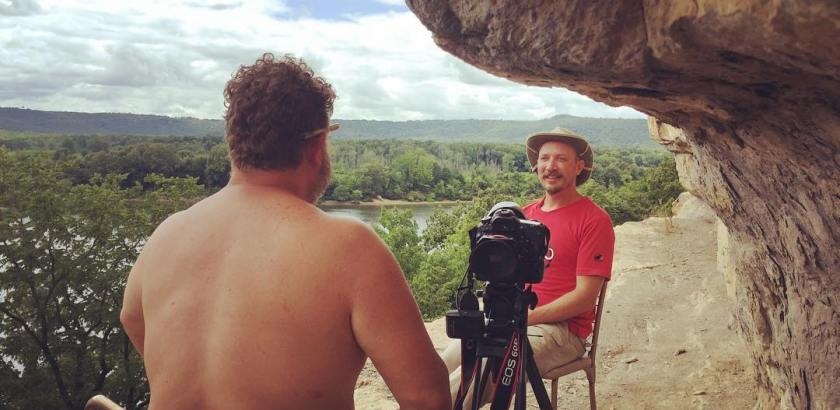 Most epically scenic interview ever with archeologist Ben Hoksbergen perched on the side of Painted Bluff