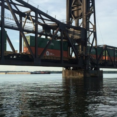 Train bridge Decatur AL. We thought at first we might fit under. Not so much