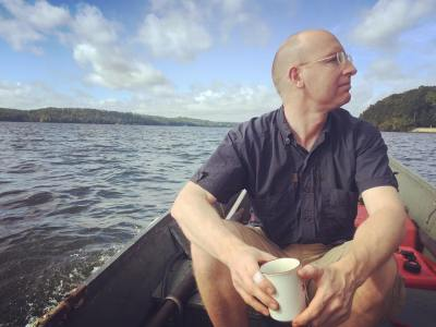 Dr. Adrian Nankivell excellent ships mate on a morning johnboat run