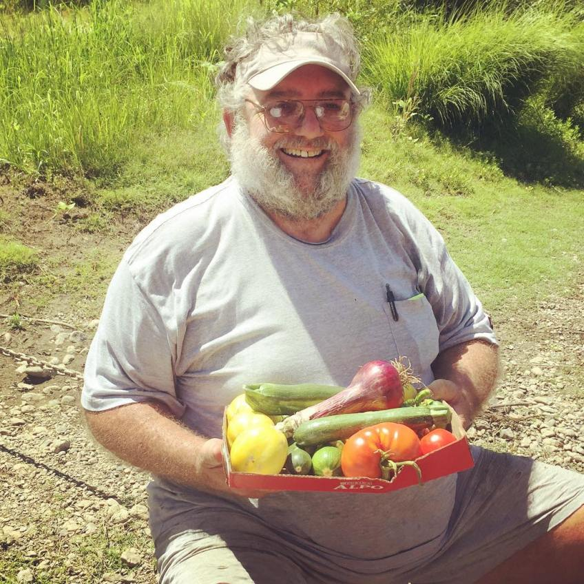 Al brings us fresh vegetables from his garden as we interview his friend Mike