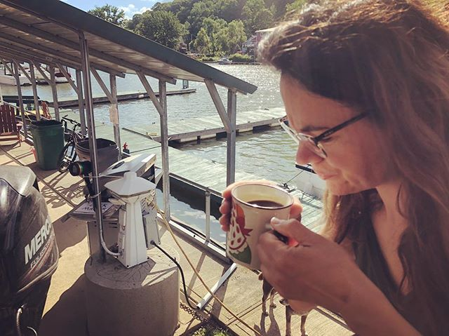 First cup of coffee sitting on the deck in sunshine at Whitehall Marina above the Champlain Canal