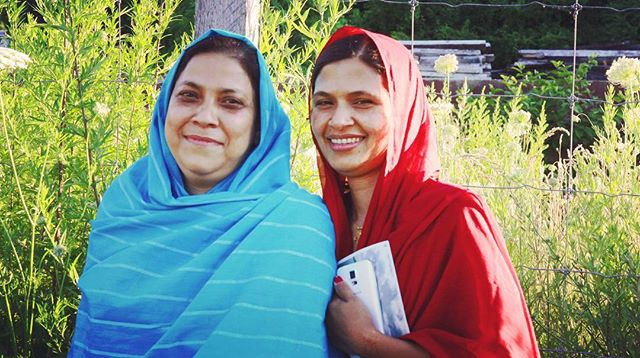 In Hudson NY there are over 120 Bangladeshi families, some of whom maintain a community garden along the river down by the Shacks. Seeing the women's bright clothes among the rich greens of the garden was beautiful
