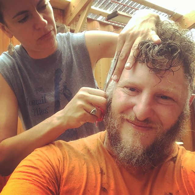 Living in NYC is a hairy business. Shipmate shearing. #diyhaircut #shantyboat
