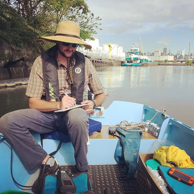 T. Willis Elkins of the Newtown Creek Alliance takes water samples and measurements of temperature, dissolved oxygen, and turbidity in more than a half dozen places on Newtown Creek #newtowncreek  #Shantyboat #Brooklyn #Greenpoint #NYC