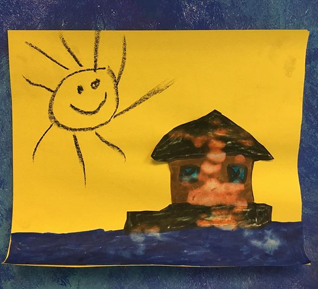 Hagan, who is 5, was very taken with the shantyboat and made this in art class #shantyboat #shantyart #artclass #5yoartist #collage #almost6
