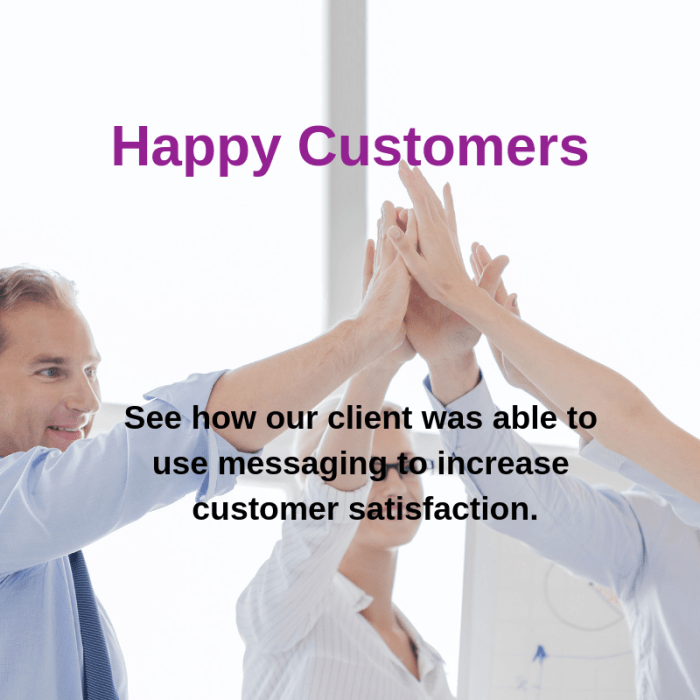 happy customers with messaging