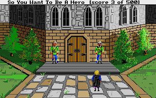 Hero's Quest: So You Want to Be a Hero Atari ST  la puerta está custodiada por dos guardias