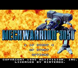BattleTech: A Game of Armored Combat SNES  pantalla de título y menú principal (EE.UU./versión europea)