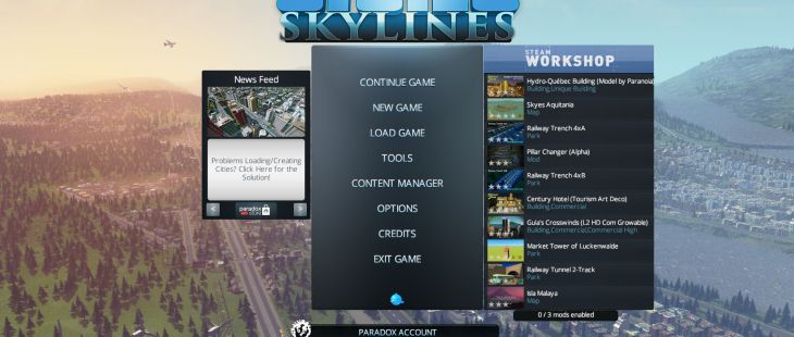 Cities: Skylines Windows Menú principal