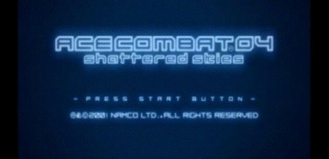 Ace Combat 04: Shattered Skies PlayStation 2 Pantalla de título