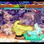 Night Warriors: Darkstalkers' Revenge SEGA Saturn  Sasquatch cuerpo golpea a Pyron, una criatura de energía