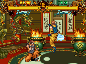 Double Dragon Neo Geo CD  Jimmy VS. Palanqueta. Â¿Notan el pie resplandeciente? Un buen detalle ...
