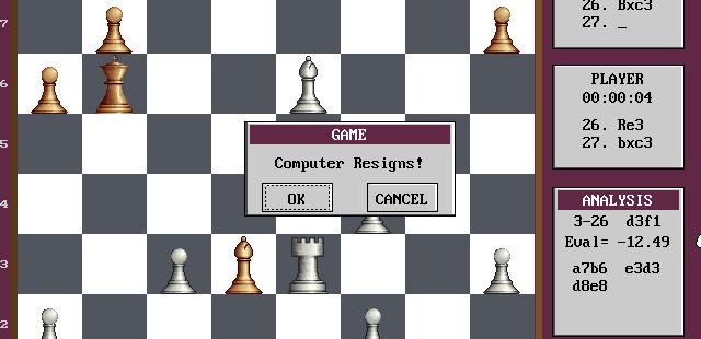 Grandmaster Chess DOS  ordenador renuncia.