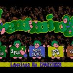 Lemmings FM Towns Desde la pantalla de título, puede configurar el juego, comenzar a jugar, o introducir una contraseña para un nivel posterior.