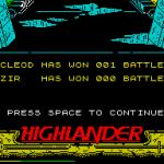 Highlander ZX Spectrum  score