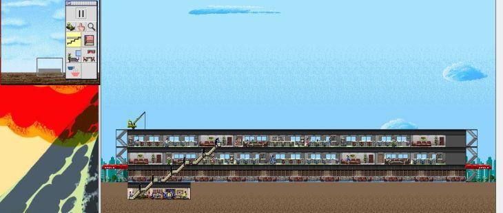 SimTower: The Vertical Empire Macintosh  un restaurante de comida rápida, lobby, y dos pisos de oficinas con escaleras .