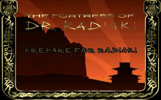 The Fortress of Dr. Radiaki (Demo Version) DOS  La pantalla de carga muestra que el nivel de demostración se llama Radiaki.