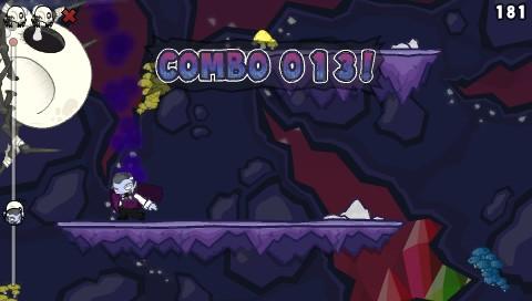 Monsters (Probably) Stole My Princess PSP  Cada vez que aterrizas en el la misma plataforma dos veces tu combo se reiniciará, mostrándote cuántos puntos de combo tenías