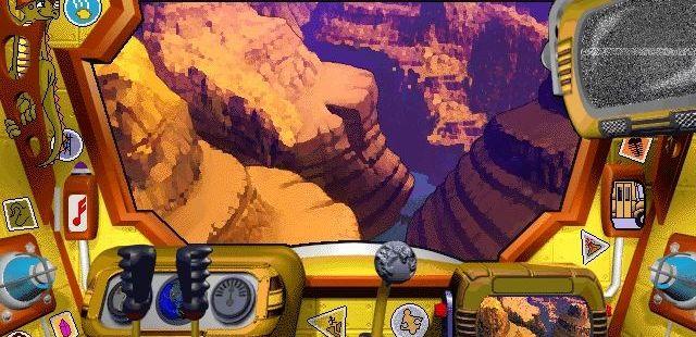 Scholastic's The Magic School Bus Explores Inside the Earth Windows  a bordo del autobús, el cambio de marchas y GO! botón llevar al jugador a su ubicación elegida