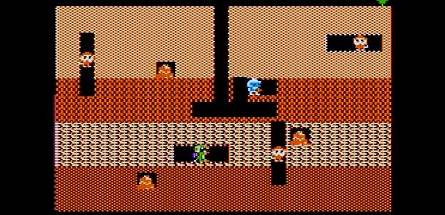 Dig Dug Apple II  Juego en el primer nivel