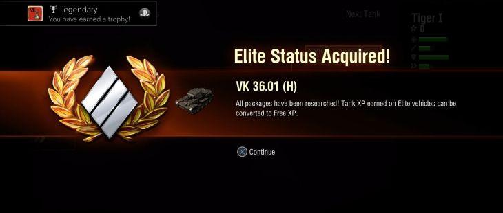 World of Tanks PlayStation 4  La adquisición de un estatus de élite para un tanque sucede cuando investigas y compras todas sus mejoras