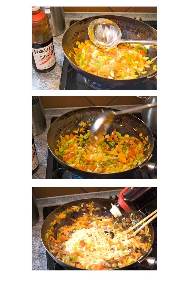 Fideos yakisoba de ternera y verduras Curso de Cocina